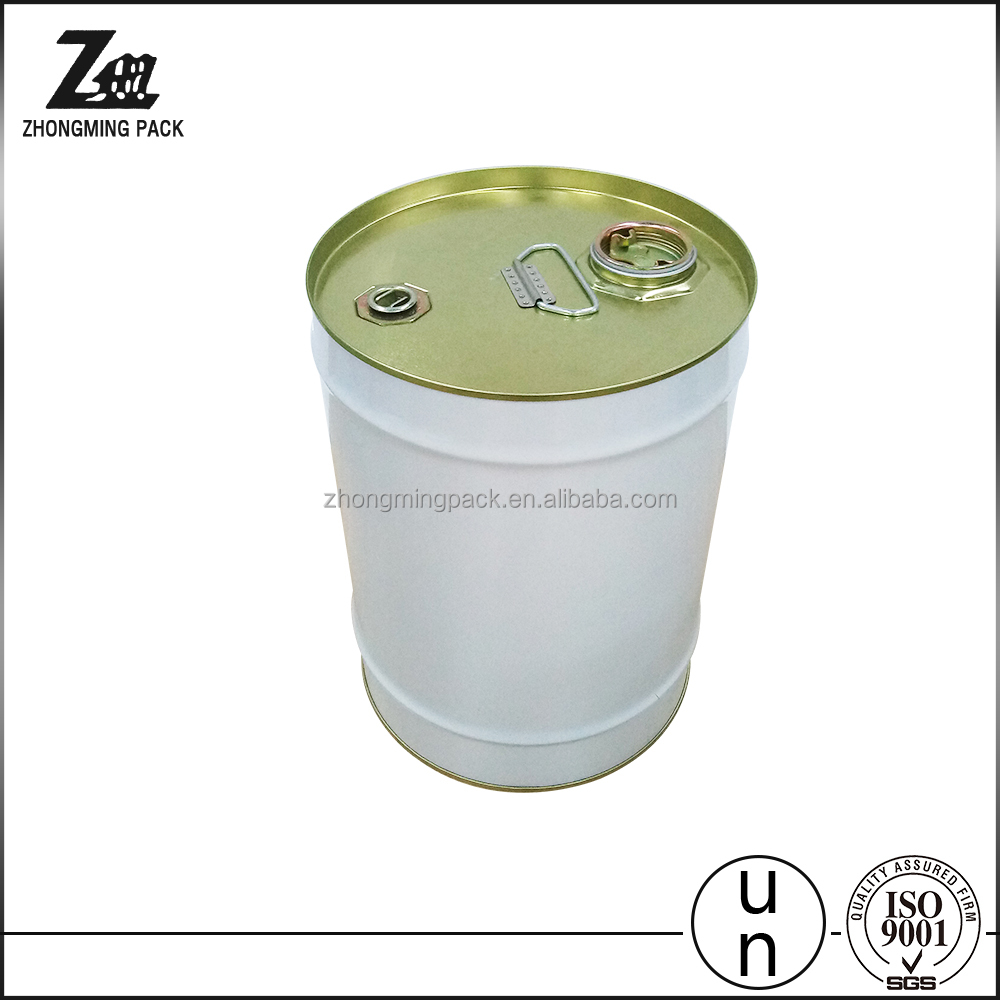 closed tight head metal pail with airtight screw spout cap and metal handle