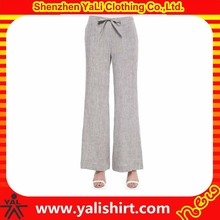 2015 new style cheap bulk drawstring mix size wide leg soft linen ladies fashion trousers design