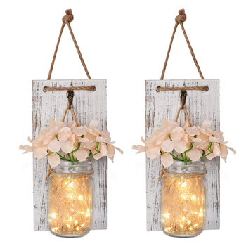 Mason Jar Sconce Rustic Home Wall Decor with LED Fairy Lights - Handcrafted Hanging Mason Jar Sconces (Set of 2)