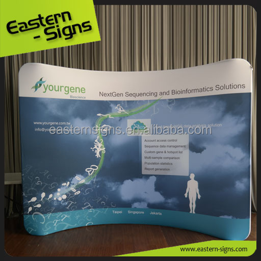 Tradeshow Display Exhibition Tension Fabric Curved Trade Show Pop Up Wall