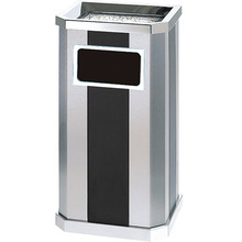 Indoor Stainless Steel Waste Bin With Ashtray In Color Gray And Black,Hotel Supermarket Bank Lobby Square Waste Bin Ash Bins