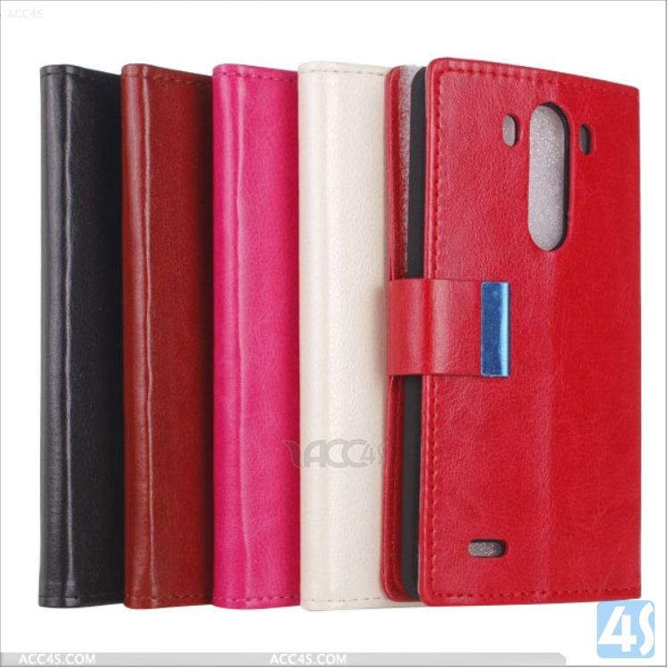 Wholesale cell phone accessory Leather Wallet Case for LG G3 P-LGG3SPCA006