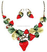 famous brand style high quality strawberry shape necklace and earring sets