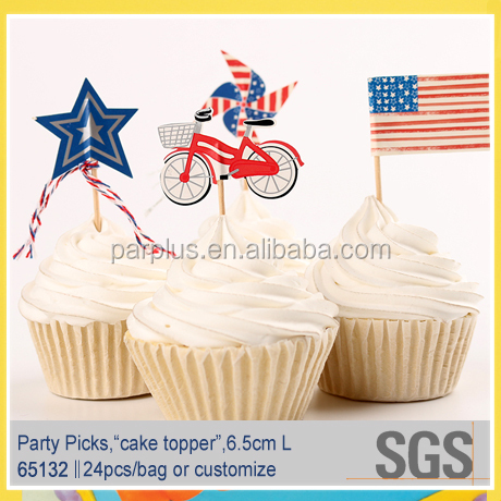 The 4th of July Holiday Party Paper Fan Picks,Patriotic Cake/Food Decorative food Picks