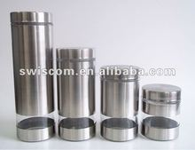 silver color glass jar with metal lid for food storage