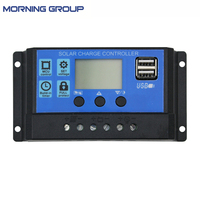 Solar Charger Controller Regulator with Dual USB Port LCD Display Overload Protection 10A 20A 30A 12V 24V