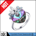 2017 new design lady jewelry factory customize 925 sterling silver fashion love heart crystals from Swarovski women finger ring