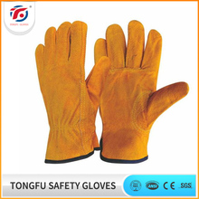 Yellow pig split leather driver style work gloves for men