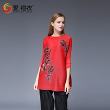 tops 2016 new designs fashion pleated ladies blouse
