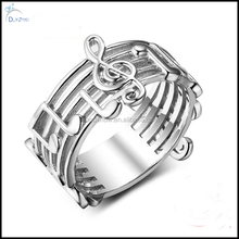 Fashion cute rhodium plate notes music ring