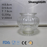 300ml Round Ribbed Glass Candle Jar Tealight Holder with Stem
