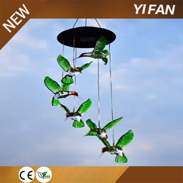 Solar Color Changing LED Hummingbird Wind Chimes Light