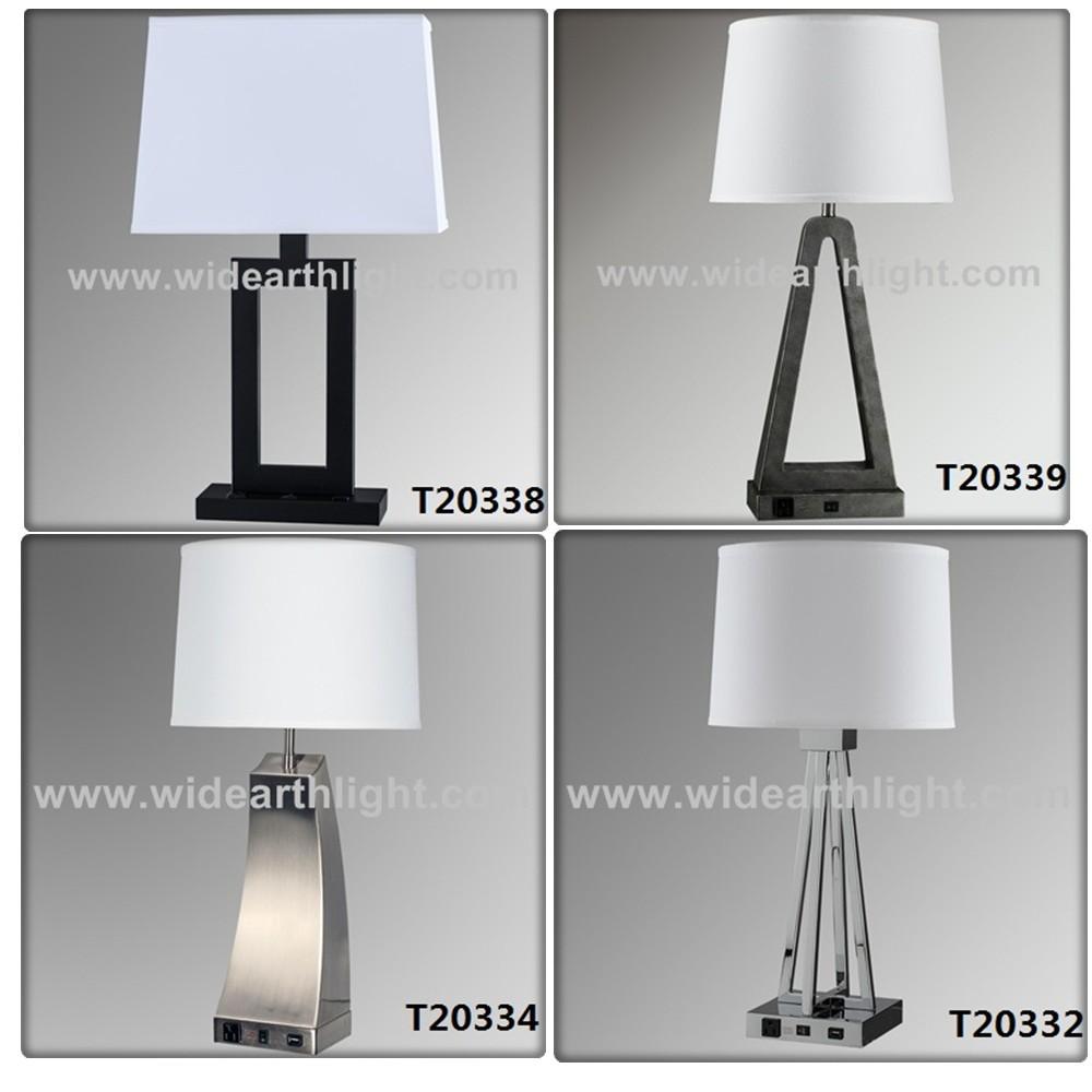 ul iron hotel bedroom modern table lamp desk light with usb and outlet. Black Bedroom Furniture Sets. Home Design Ideas