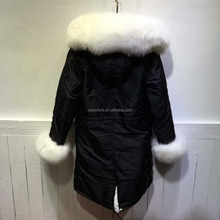 Popular winter Long style fur jacket with fur inside mens winter fur hooded jackets