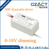 TUV SAA CE approved 20W 400mA 0-10v dimmable led driver for led cob lights