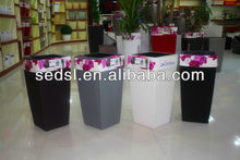 rattan flower pot,self watering pot,plastic flower pots