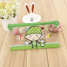 Custom Print Cute Pvc Slider Zipper Pouch Stationery Bag