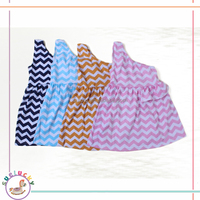 Good quality one shoulder chevron stripe soft knit cotton baby girls party wear dress