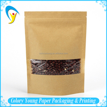 Eco-friendly Custom Zipper Top Brown Kraft Paper Bag With Clear Window