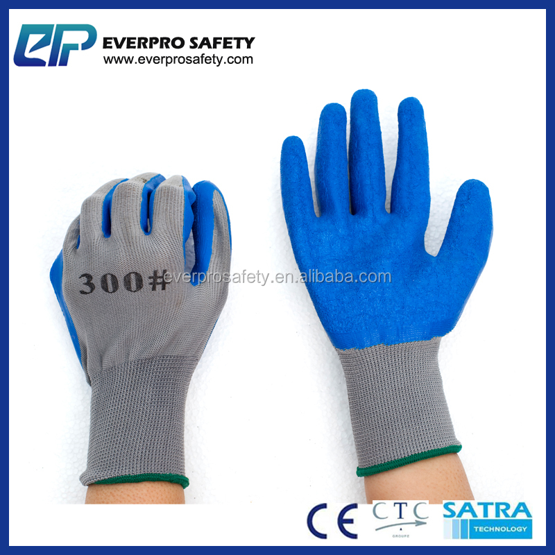 10 gauge poly cotton liner grey crinkle latex coated farming light work anti slip gloves