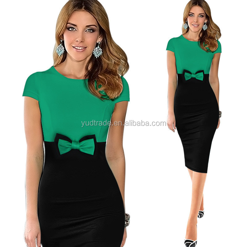 2017 Lady Short Sleeve Bow Elegant Vintage Pinup Business Casual Wear To Work Party Bodycon Pencil