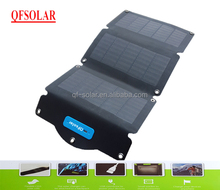 Portable solar charger, 10W/5V/2A CIGS flexible three folds panel, Weight: 207g, high efficiency, Water resistant, CE/RoHS