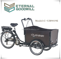 manual transmission type cargo bikes 36V 9Ah bisiklet family electric cargo bike/cargobike/bakfiets UB9019E trikes