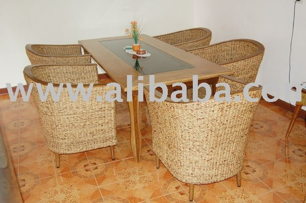 Mango Table With Smoke Glass Insert And Water Hyacinth Chairs