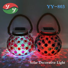 Solar Powered Glass Ball Hanging Waterproof LED Garden Lights For Indoor Or Outdoor Decoration