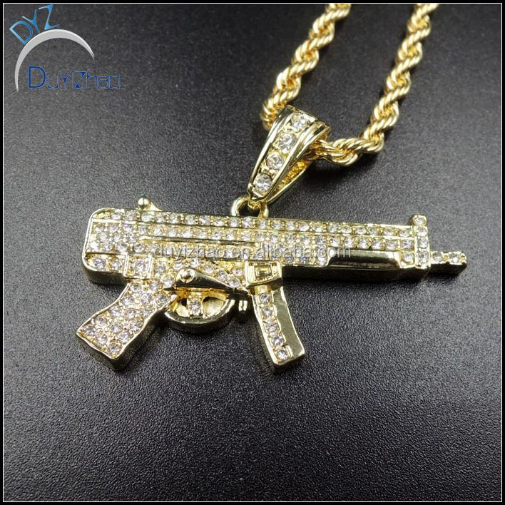 "30"" Cuban Necklace Chain Mens Hip-Hop 14k Gold Plated Iced Out ACR Gun Pendant"