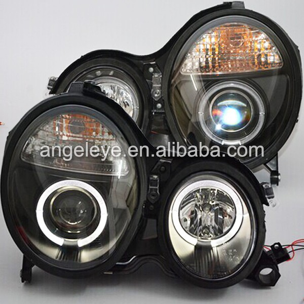 1999-2001 Year Benz W210 E200 E230 E240 E280 E320 LED Angel eyes Head Lamp Black Housing SN