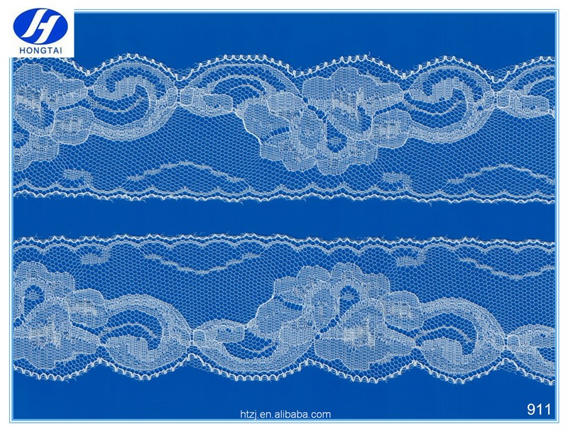 Beautiful knitted nylon eyelet lace trim/scalloped edged lace fabric online
