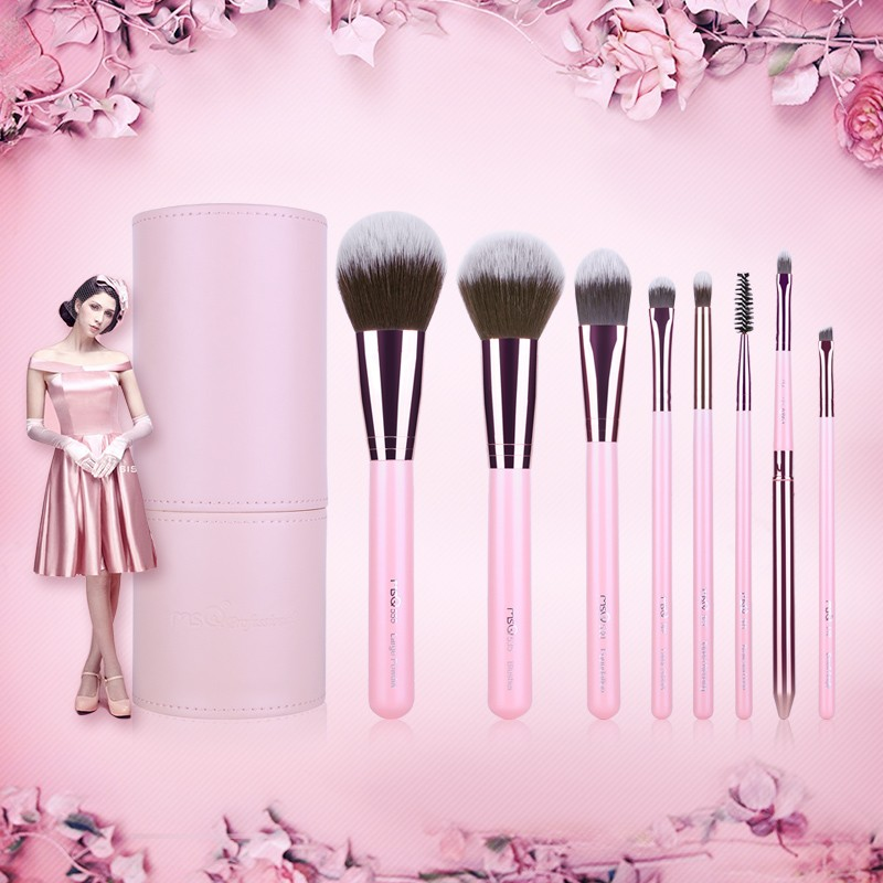 MSQ New 8pcs pink rose gold Makeup Brush Set with cylinder case