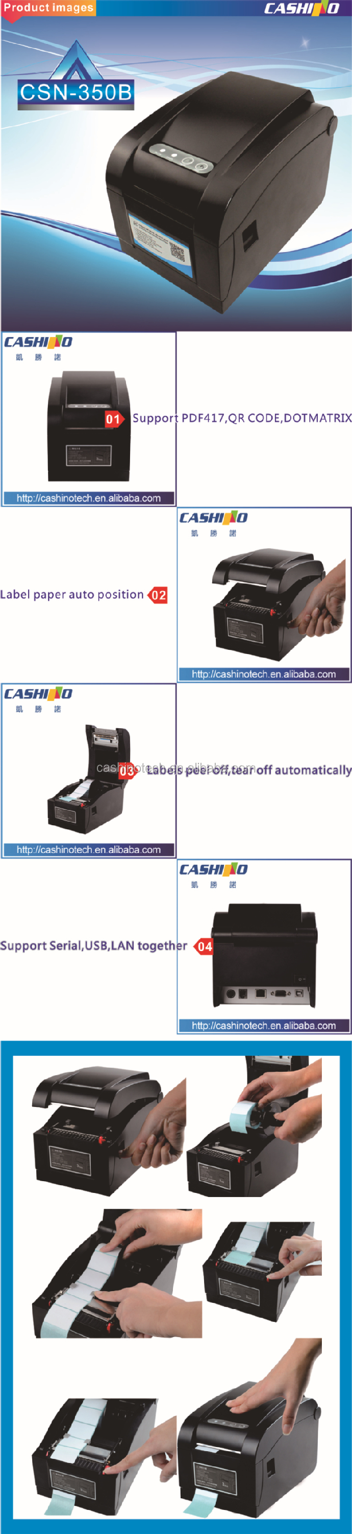 Adhesive labelCheap barcode label thermal printer/ barcode printer label thermal with low price CSN-350B