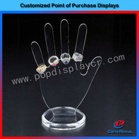Hot-sale clear acrylic hand-shaped ring display stand