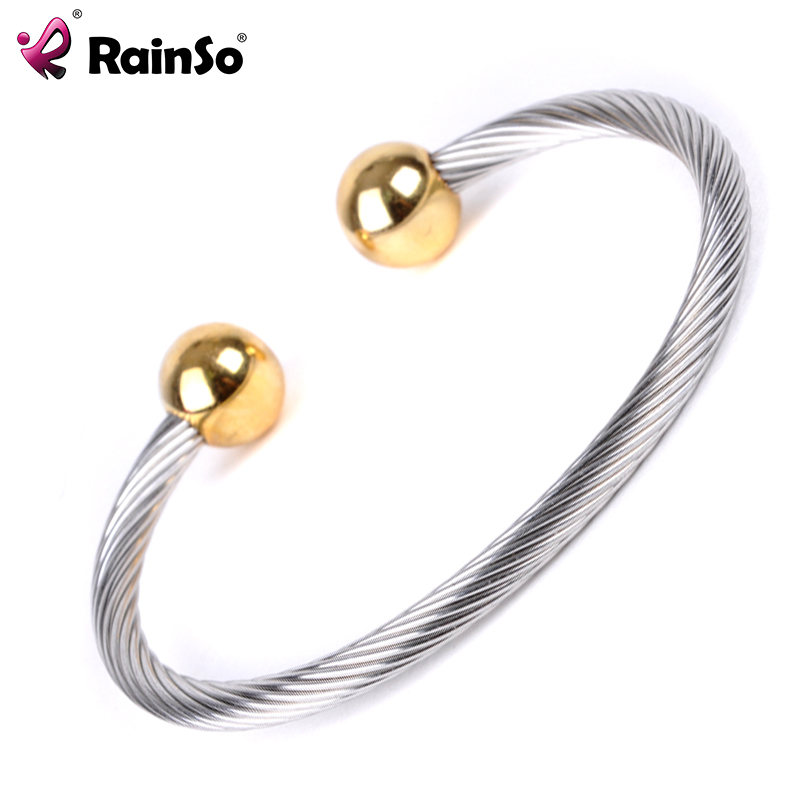 Wholesale Two tone magnetic cuff wire bangle 316 stainless steel cable bracelet