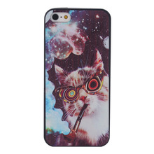 black printing TPU cell phone for Iphone 5s cover case