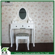 Solid wood dresser/dressing table with mirror and stool for bed room in EU / US market
