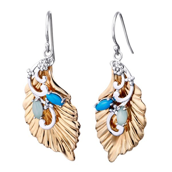 Sterling Silver Leaf Dangle Earrings High Polish 14K Gold/Rhodium plated Opaque Stone Prong set