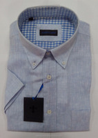 Mens linen short sleeves casual sky-blue shirts