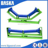rubber coated cement plant belt conveyor steel roller idler