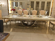 DH-1401 Big size marble top stainless steel dining table with leather chairs