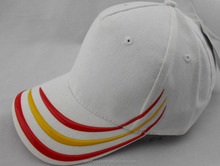 Cotton white Baseball caps bulk Custom Silicon stripe on the brimbaseball caps