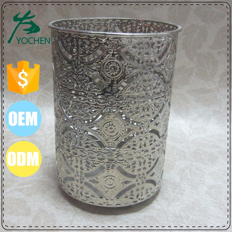 Round Silver candle holder tealight aluminium cup holder