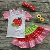 girls back to school clothes children apple top with skirts baby girls summer boutique clothing with matching headband
