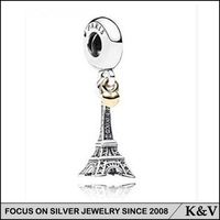 QS0654 Alibaba price wholesale Eiffel Tower bead jewelry DIY silver charm beads