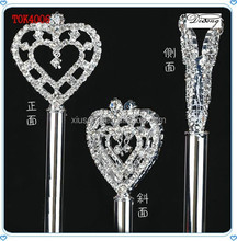 TOK4006 Bridal Princess Wedding Pageant Queen Rhinestones Crystal heart Scepter Magic Silver Wand Prom Gift