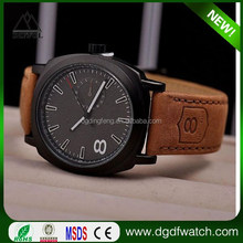 Frosted matte dial big face hot selling fashion leather band men wristwatch