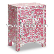 Mother of Pearl Inlay Bedside Cabinet in Rasberry Pink