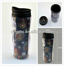 Eco-friendly double wall fashion PP/PE plastic Cup with Paper insert